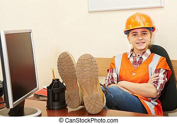 entrepreneur, bureau, délassant, jeune