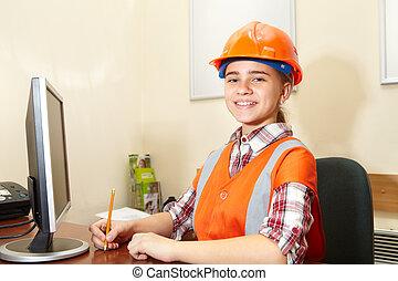 entrepreneur, bureau, fonctionnement, jeune