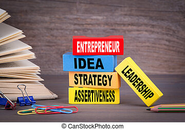 entrepreneur concept. Colored wooden blocks on the table