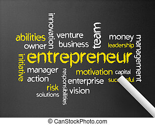 Dark chalkboard with the word entrepreneur illustration.