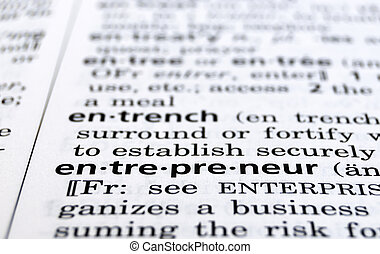The word Entrepreneur in a dictionary