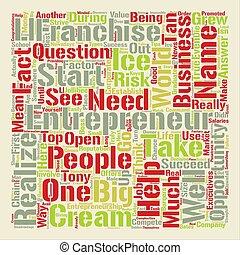 entrepreneur franchise opportunity text background word cloud concept