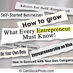 What Every Entrepreneur Must Know and other newspaper headlines advising new or small business owners about important tips, advice and information on running a company