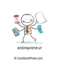entrepreneur holding a calculator, money, hourglass,...