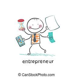 entrepreneur holding a calculator, money, hourglass, documents