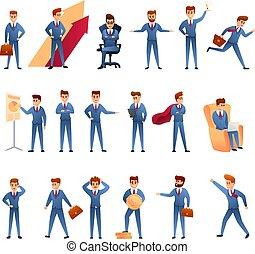 Entrepreneur icons set, cartoon style
