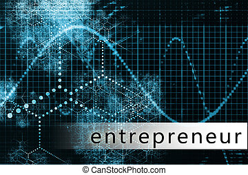 Entrepreneur in a Blue Data Background Art