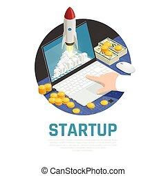 entrepreneur, isométrique, composition, démarrage
