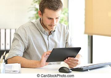 entrepreneur, ligne, fonctionnement, tablette