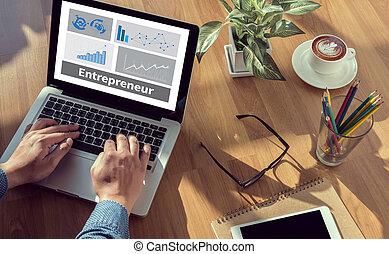 Entrepreneur man hand on table Business, coffee, Split tone
