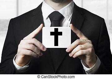 entrepreneur, obseque, croix, signe, noir, tenue, homme