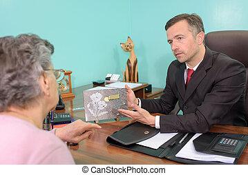entrepreneur, projection, plaque, à, personnes agées, dame