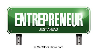 entrepreneur sign illustration design over a white ...