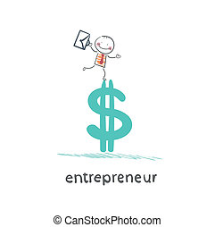 entrepreneur standing on dollar