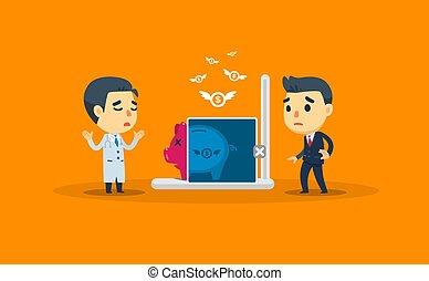 entrepreneur., vecteur, docteur, économies, illustration, vérification