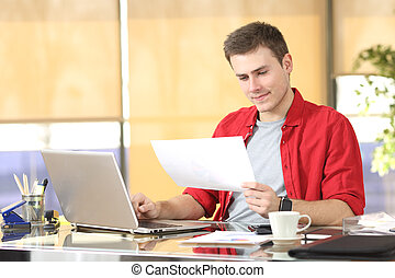 Entrepreneur working consulting documents