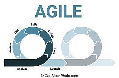 entrepreneurs, deux, logiciel, sprints, lifecycle, processus, diagramme, développement, agile, infographic