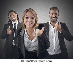 Entrepreneurs optimistic smile for their beautiful career