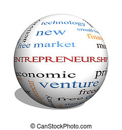 Entrepreneurship 3D sphere Word Cloud Concept with great terms such as economic, private, venture and more.