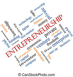 Entrepreneurship Word Cloud Concept Angled