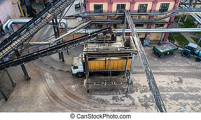 entreprise, bourdon, chargement camion, industriel, sommet, transporteur, vue