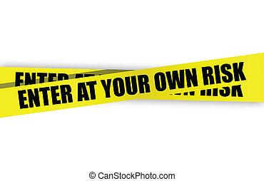 entrer, à, ton, propre, risque, jaune, prudence, bande