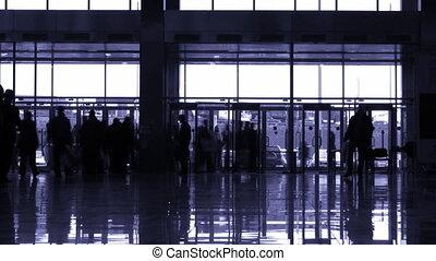 entrer, gens, silhouette