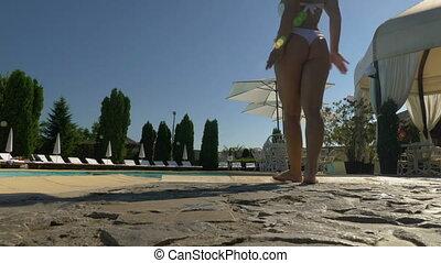 entrer, jeune femme, séduisant, complet, sexy, piscine, natation