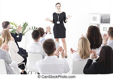 entretendo, apresentação, líder, equipe