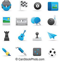 entretenimento, ícones, jogo, |, indigo, 01