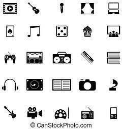 entretenimiento, icono, conjunto