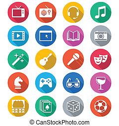 entretenimiento, plano, color, iconos