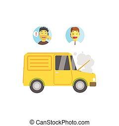 entretenir véhicule, cassé, client, opérateur, évacuation