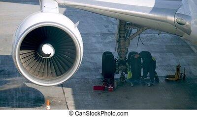 entretien, deux, mécanique, terrestre, avant, flight., 4k, ...
