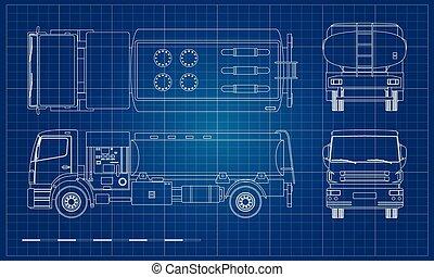 entretien, pétrolier, air, vue., carburant, dos, camion, avion., transport., côté, devant, contour, plan, sommet, aircraft., style., aérodrome, industriel