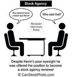 entrevista, agência, estoque