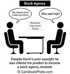 entrevista, agencia, acción