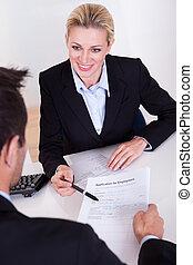 entrevista, aplicação, emprego, forma