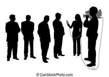 entrevista, com, grupo pessoas, com, cameraman