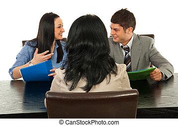 entrevista, conversação, feliz