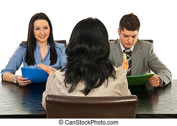 entrevista, conversação, tendo, pessoas