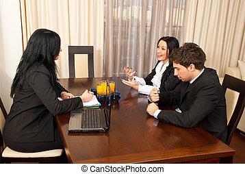entrevista, conversação, trabalho