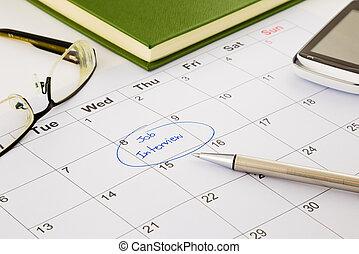 entrevista de trabajo, cita, en, horario