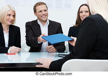 entrevista, dirigir, trabajo, equipo negocio