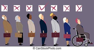 entrevista, discriminación, trabajo