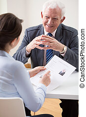 entrevista, durante, trabalho, feliz, homem
