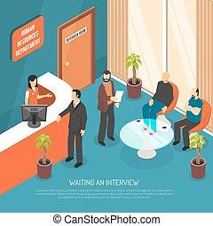 entrevista, esperando, ilustração, área