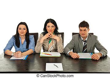 entrevista, esperando, três pessoas