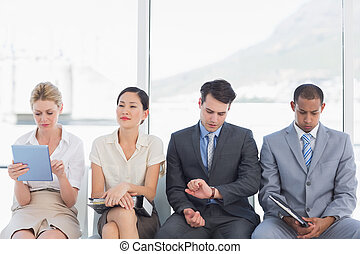 entrevista, esperar, trabajo, empresarios