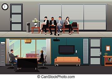 entrevista, esperar, trabajo, oficina, solicitantes